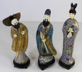 Three Chinese Cloisonne And Ivory Figures