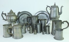 Large Group Of Antique Pewter