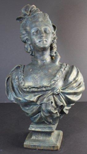 Cast Iron Bust Of Elegant Lady
