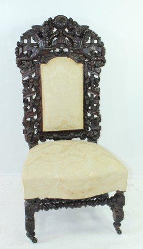 American Renaissance Carved Walnut Chair