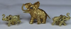 Three Piece Elephant 14k Gold Jewelry Group