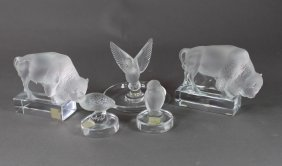 Five Pieces Lalique Figurines