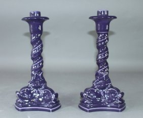 Rookwood Pottery Dolphin Candlesticks