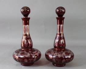Pair Bohemian Ruby Cut-to-clear Decanters