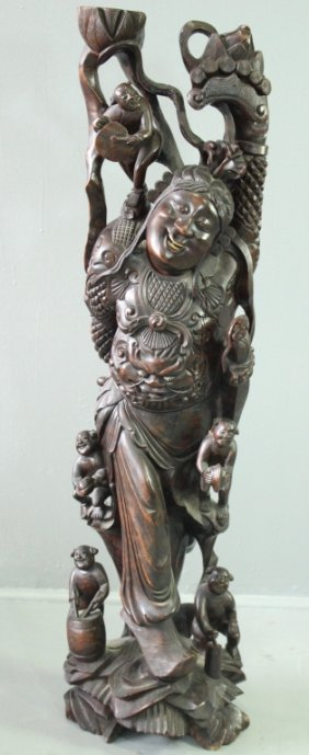 Chinese Carved Happy Man With Monkeys