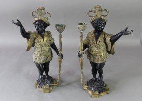 Pair Venetian Style Blackamoor Candleholders