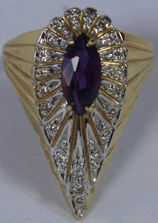 14K Diamonds and Amethyst Erte' Ring