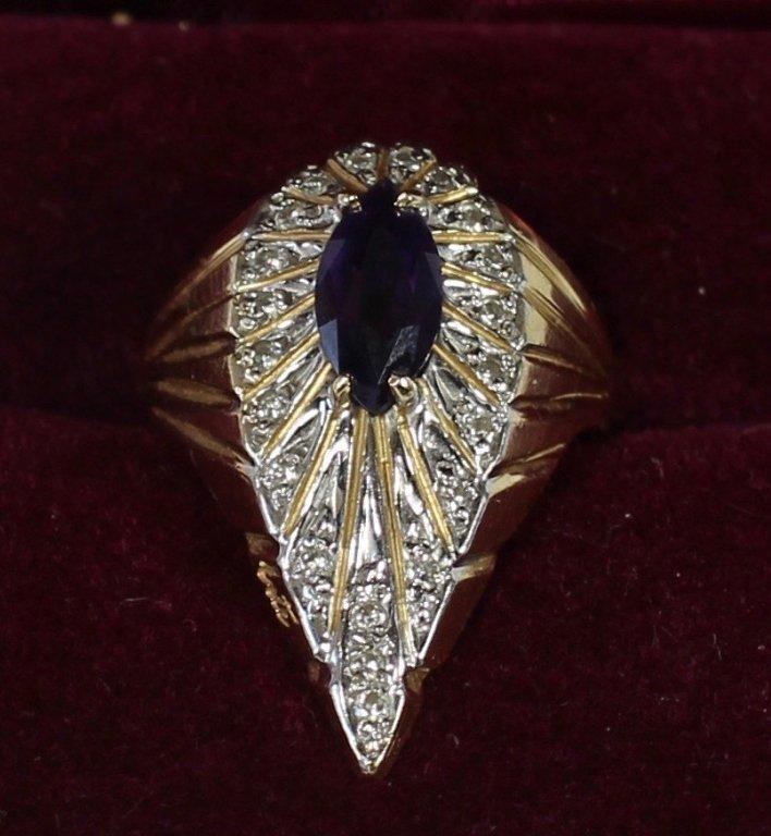 14K Diamonds and Amethyst Erte' Ring - 2