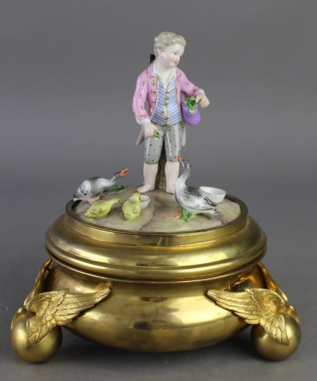 Sevres Porcelain and Bronze Ink Stand