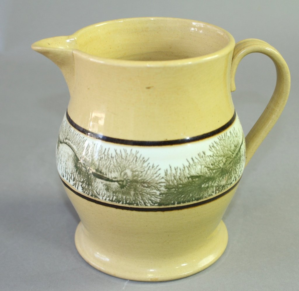 Fine Mocha Banded Yellow Ware Pitcher