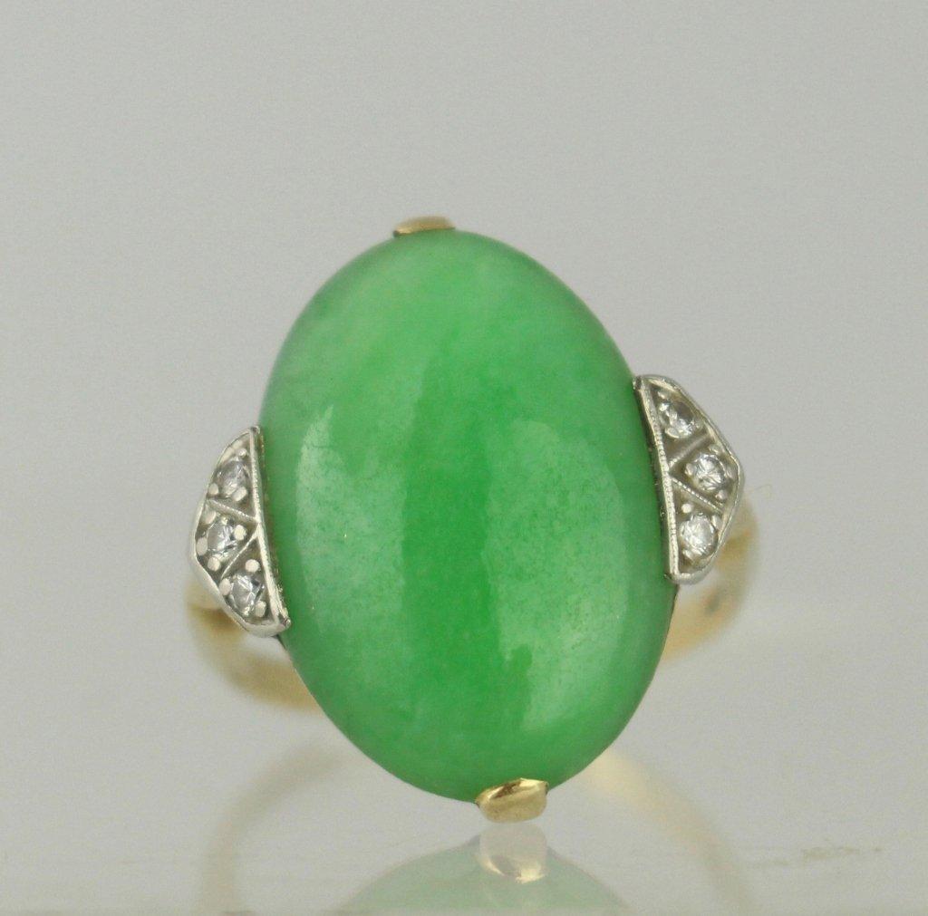 Elegant 14K Platinum, Diamond and Jade Ring