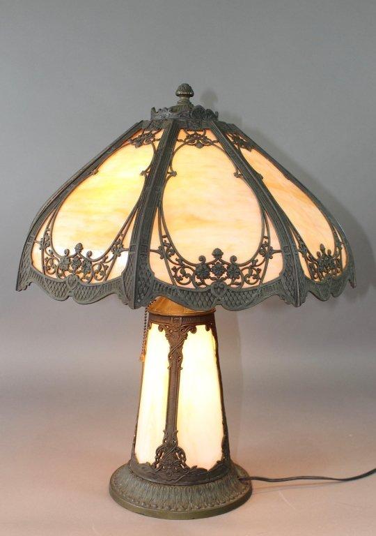 Vintage Slag Glass Overlay Lamp