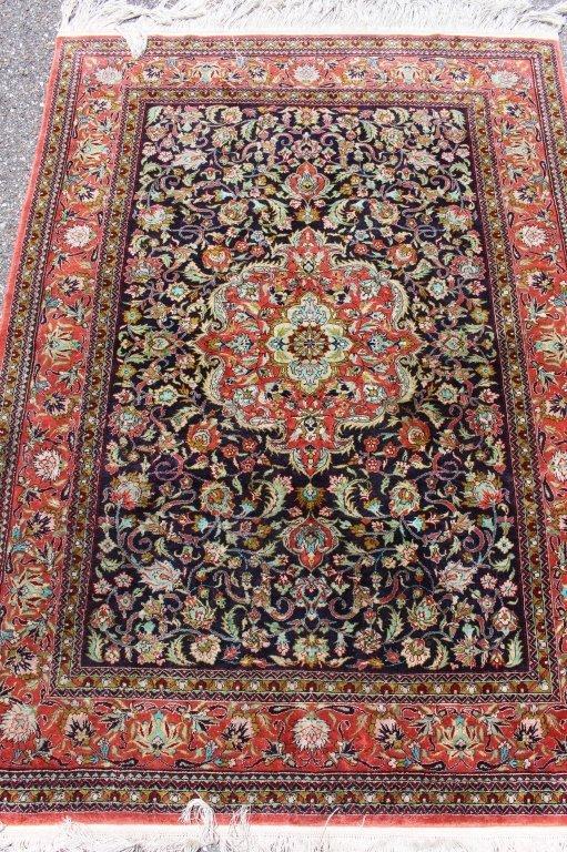 Fine Silk Turkish Area Rug, 3.7' x 5.2'.