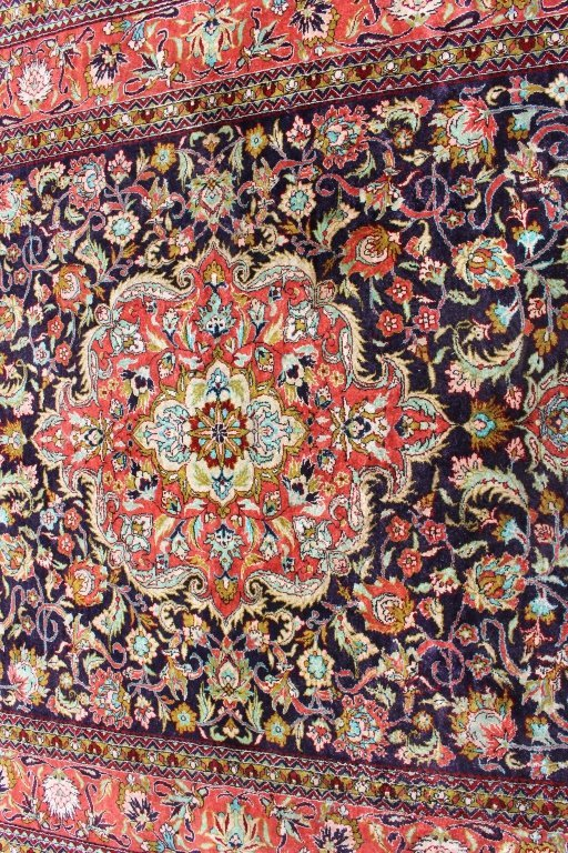 Fine Silk Turkish Area Rug, 3.7' x 5.2'. - 2