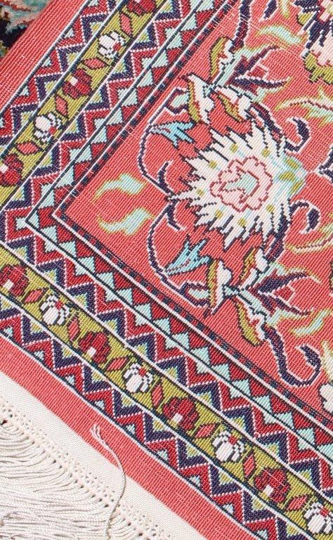 Fine Silk Turkish Area Rug, 3.7' x 5.2'. - 4