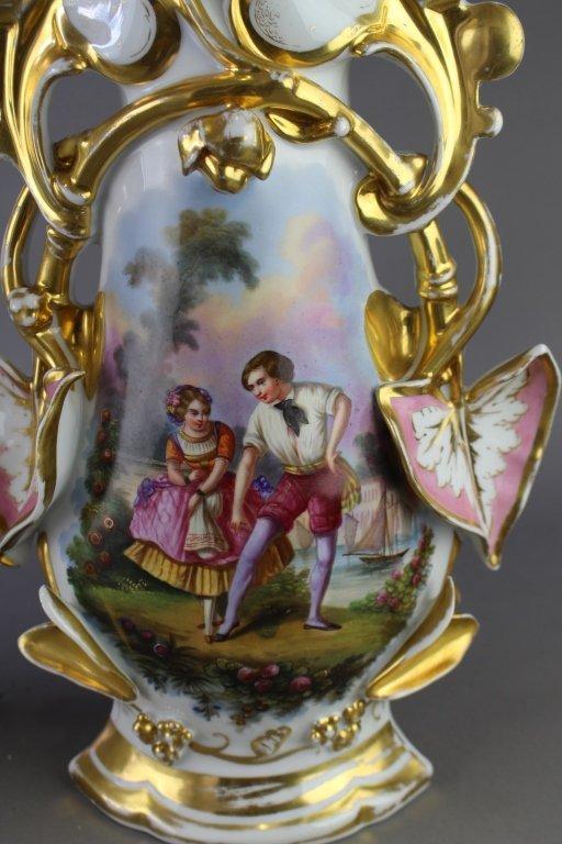 Pair of Old Paris Porcelain Vases - 3