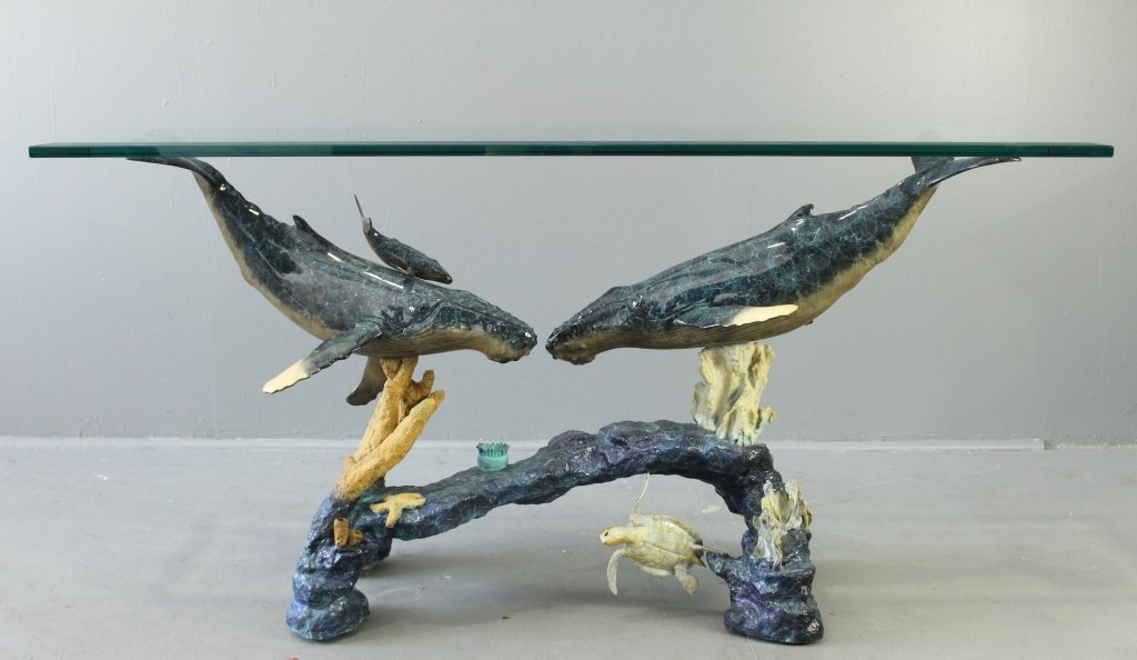 """Robert Wyland """"Blue Whales"""" Console Table"""