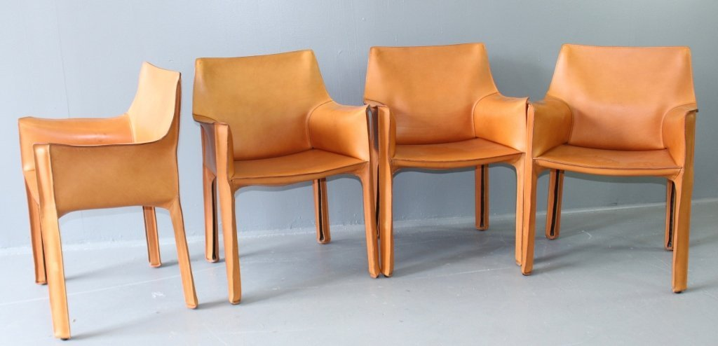 """Four """"Cab"""" Chairs Designed by Mario Bellini"""