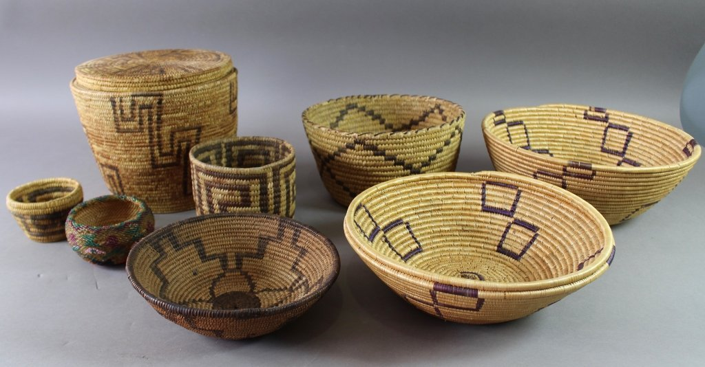 Collection of Eight Native American Baskets