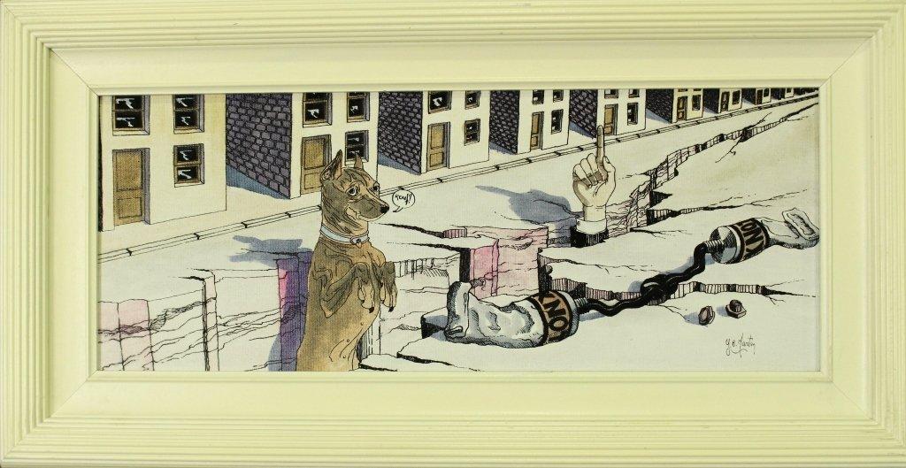 """Y. B. Martin, Original on Canvas """"Doggy"""""""