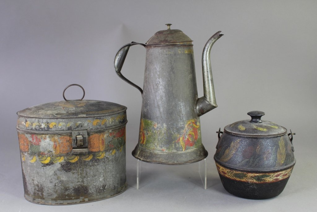 Three Piece Group Tole Painted Tin Ware
