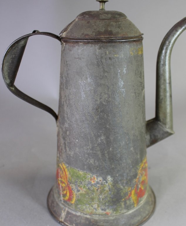 Three Piece Group Tole Painted Tin Ware - 2