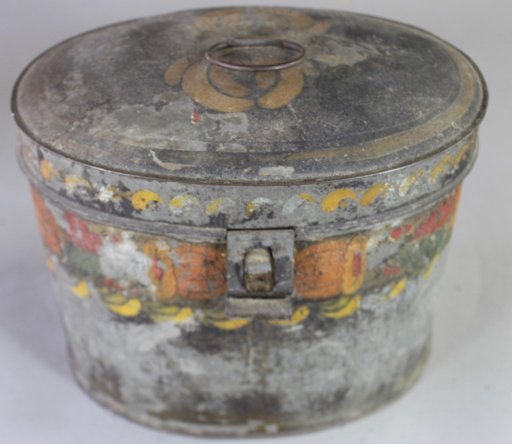Three Piece Group Tole Painted Tin Ware - 3