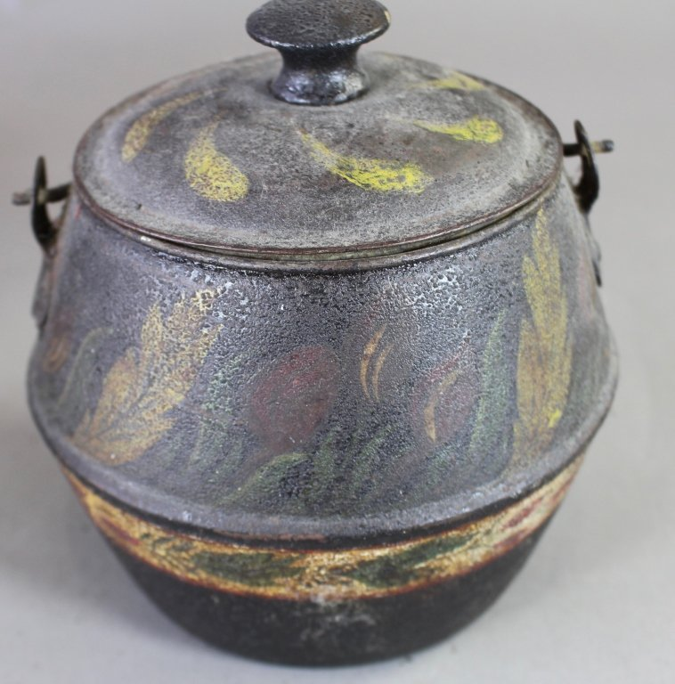 Three Piece Group Tole Painted Tin Ware - 5