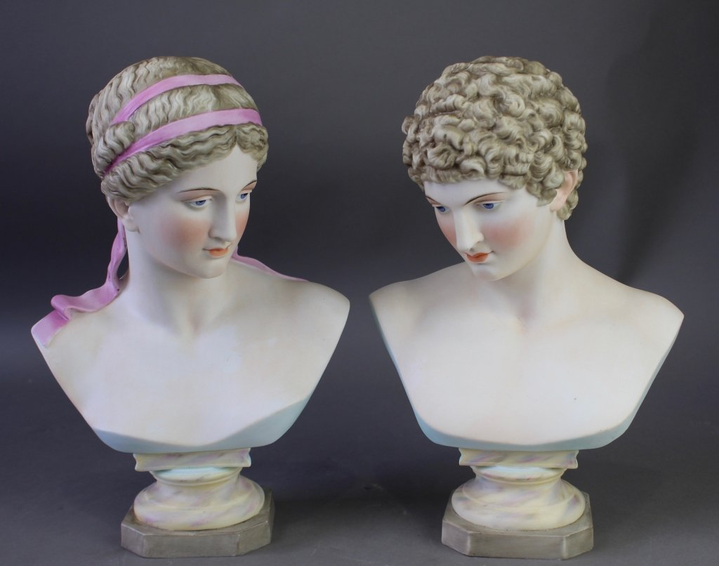 Pair of Painted Bisque Porcelain Busts