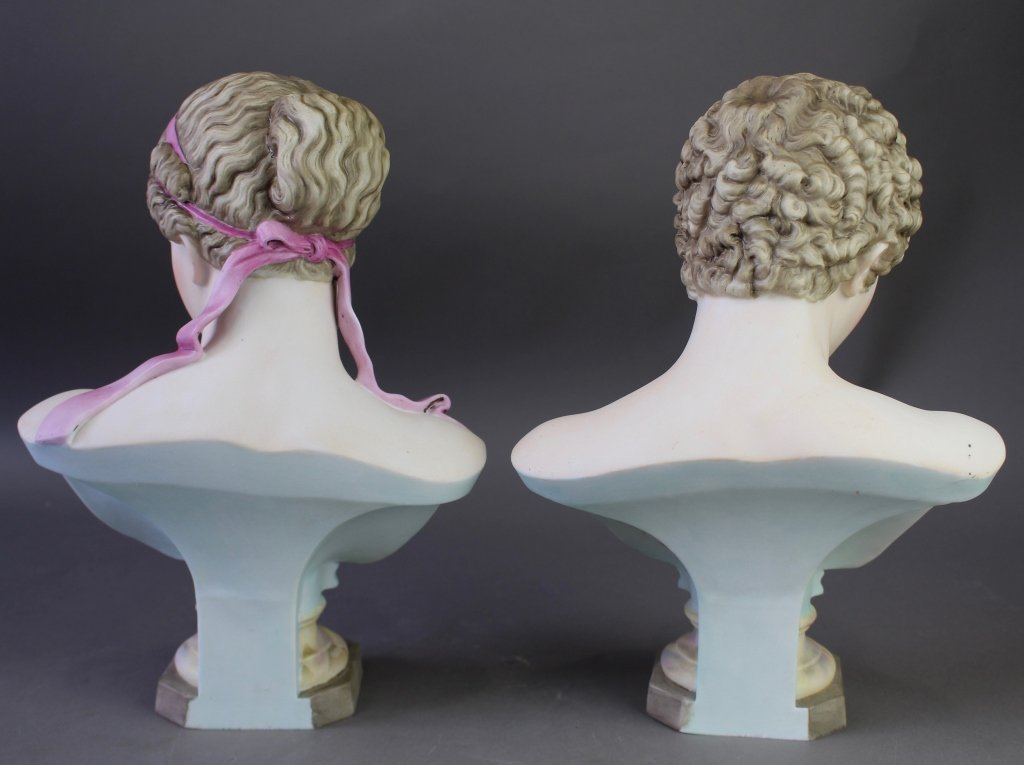 Pair of Painted Bisque Porcelain Busts - 2
