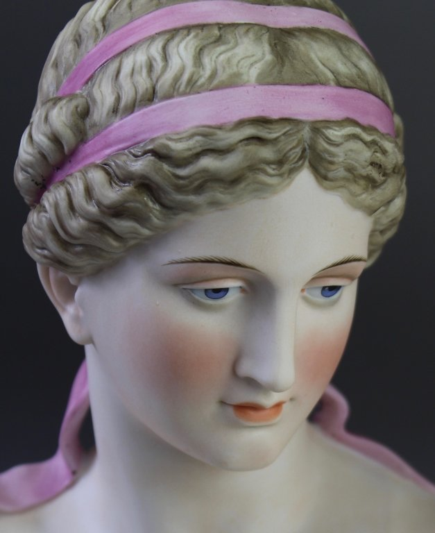 Pair of Painted Bisque Porcelain Busts - 5