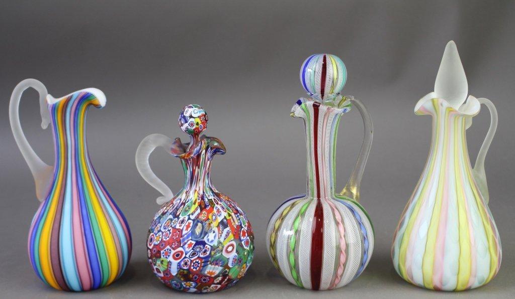 Group of Art Glass Cruets & Ewer