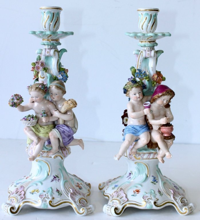 "Pair Meissen ""Four Seasons"" Figural Candelabra"