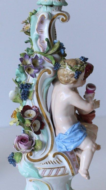 "Pair Meissen ""Four Seasons"" Figural Candelabra - 4"