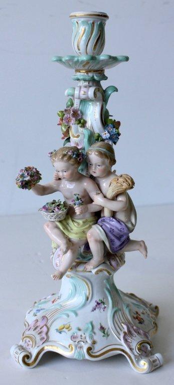 "Pair Meissen ""Four Seasons"" Figural Candelabra - 6"