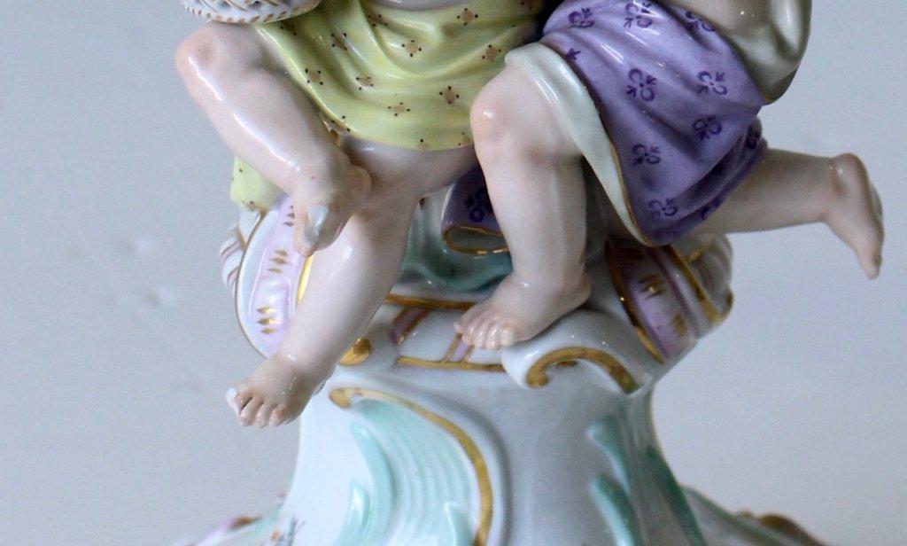 "Pair Meissen ""Four Seasons"" Figural Candelabra - 7"