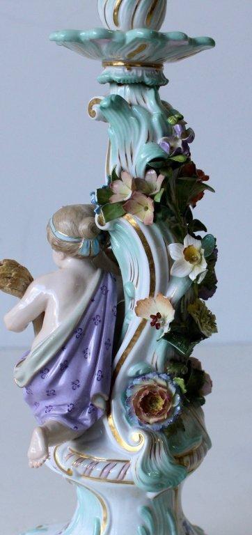 "Pair Meissen ""Four Seasons"" Figural Candelabra - 8"