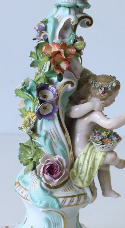 "Pair Meissen ""Four Seasons"" Figural Candelabra - 9"