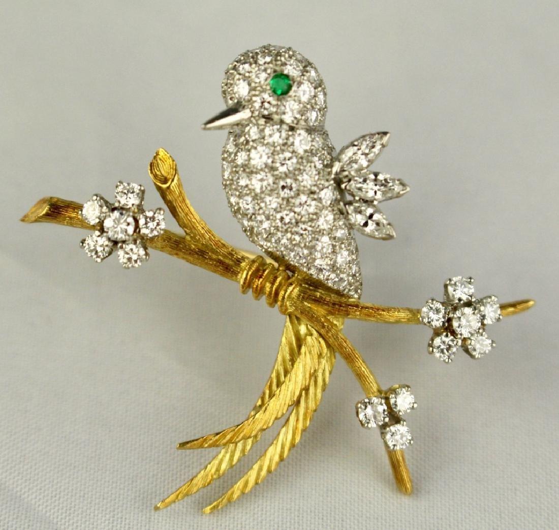 Exquisite 18K and Platinum Bird Pin