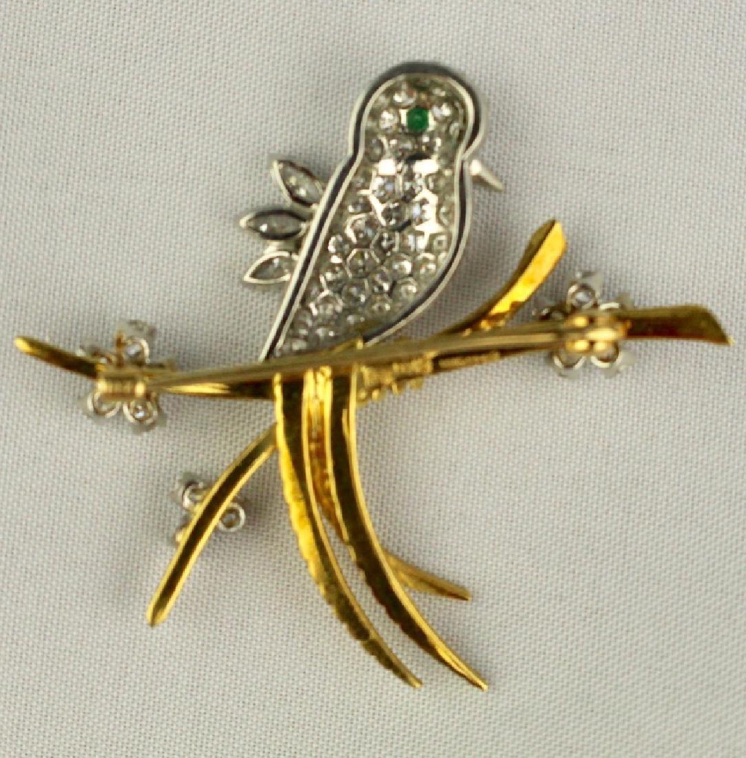 Exquisite 18K and Platinum Bird Pin - 2