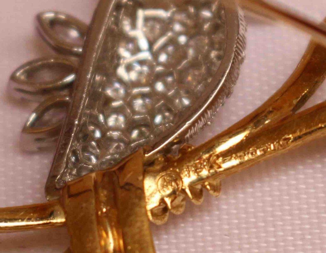 Exquisite 18K and Platinum Bird Pin - 3