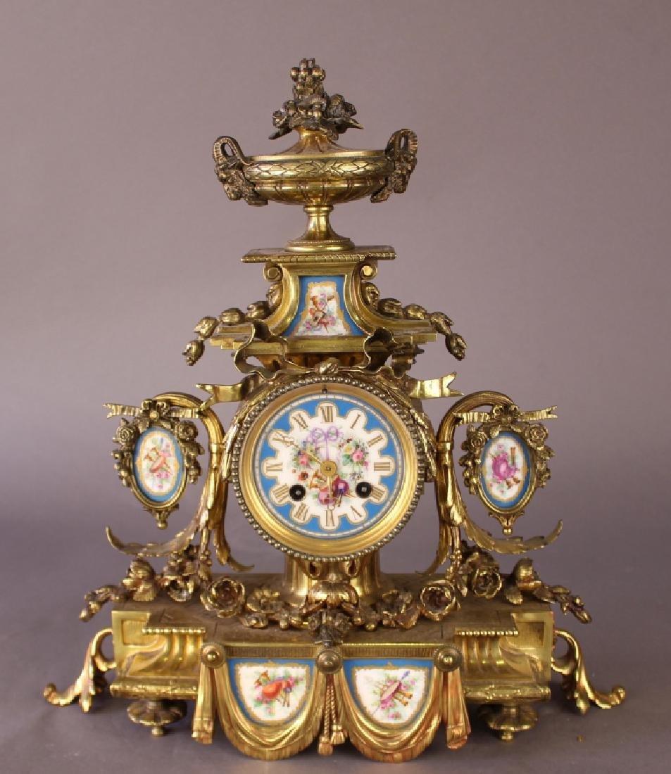 E. Phillipe French Bronze Mantle Clock