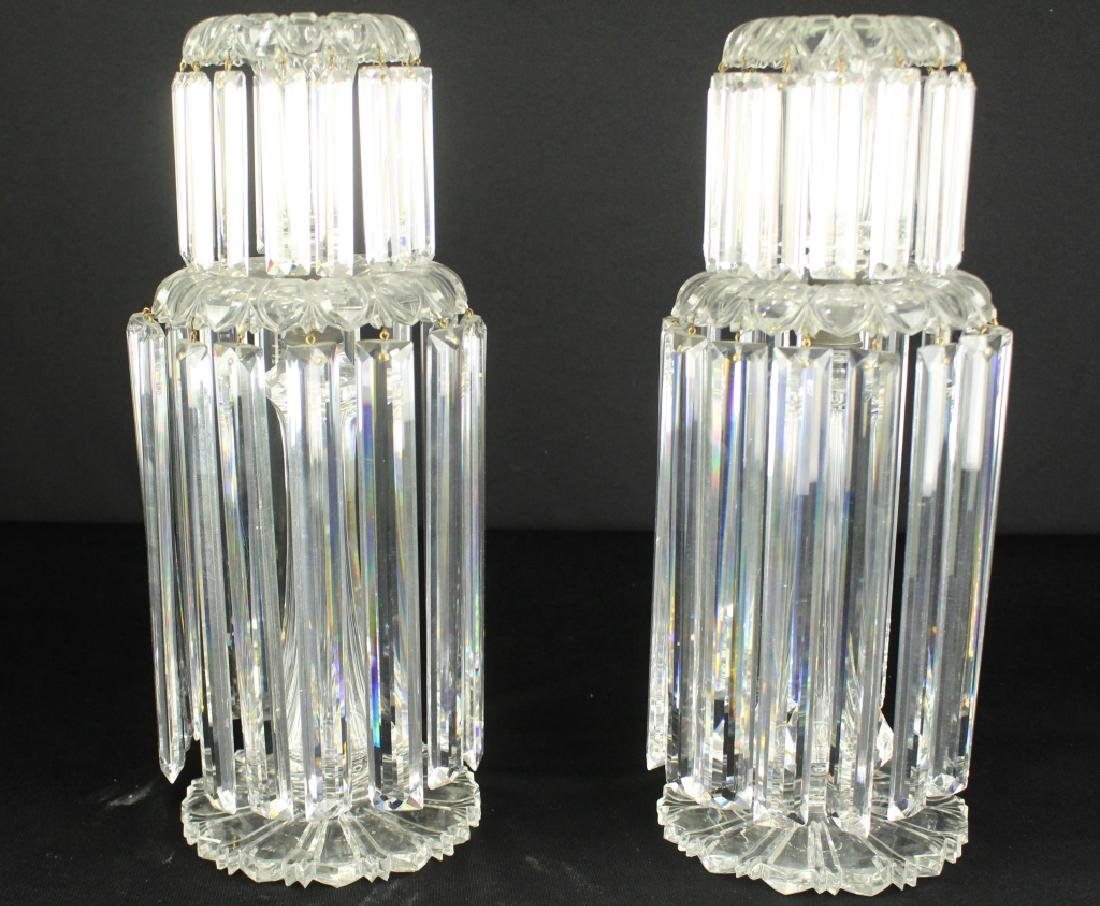 Pair French Cut Crystal Candle Holders