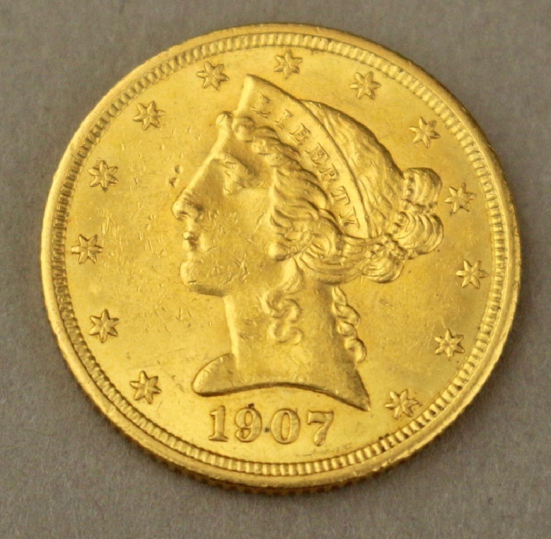 1907 US 5 Dollar Gold Coin