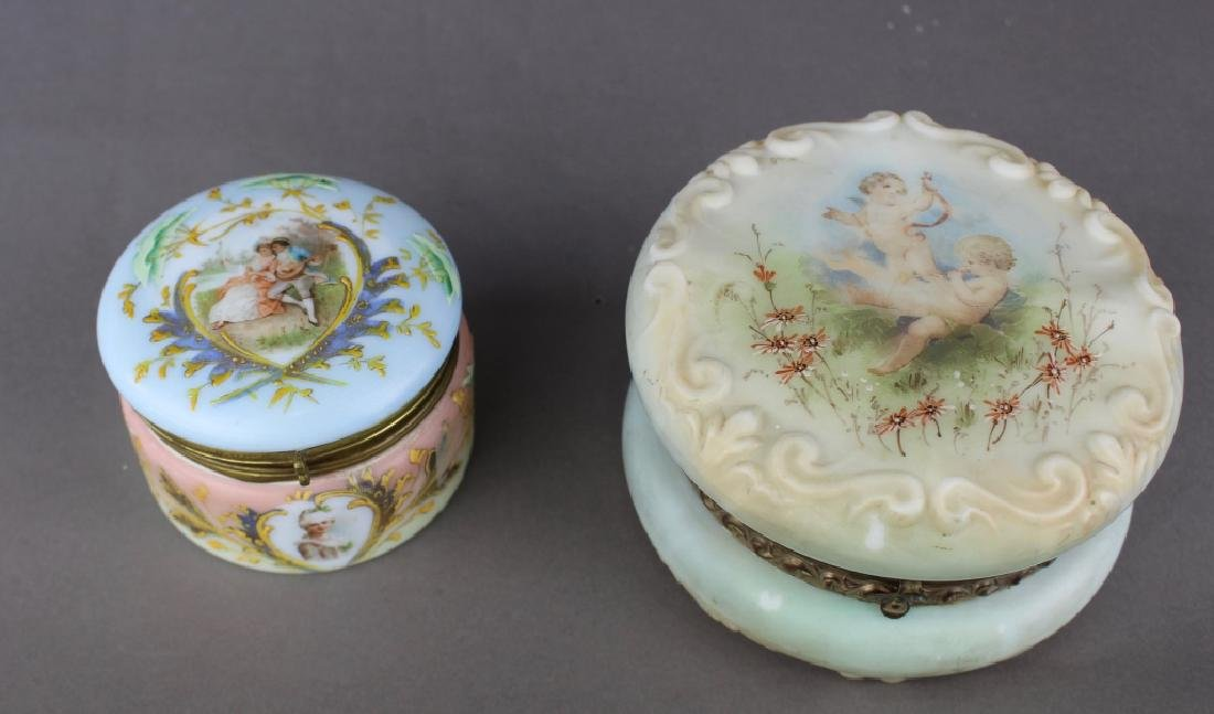 Two Wave Crest Dresser Boxes with Rare Decoration