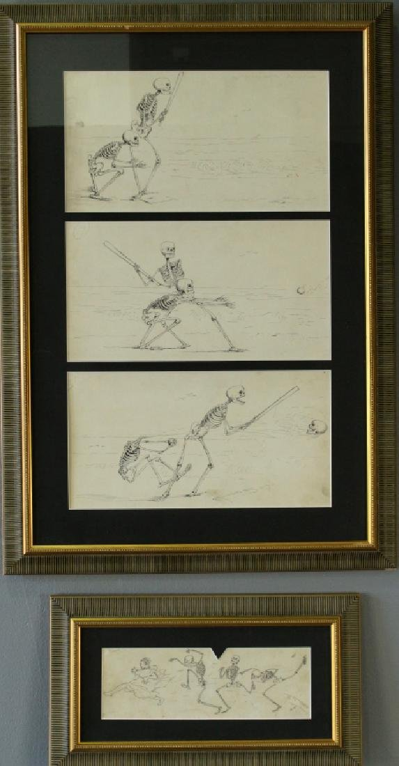 Four Edward T. Hurley Pen & Ink Drawings