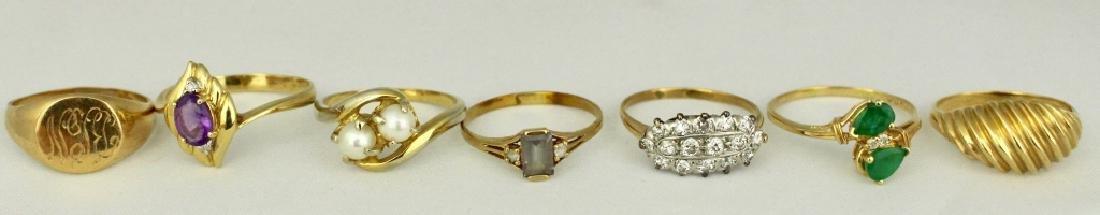 Seven Lady's Karat Gold Fashion Rings