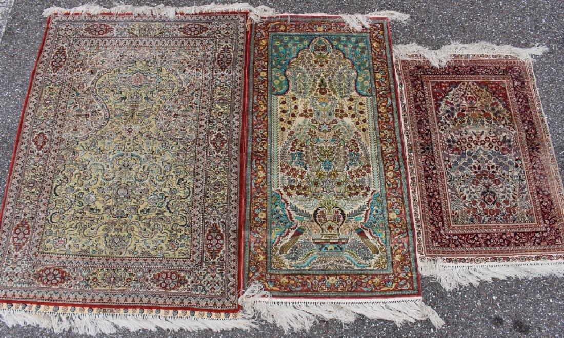 Three Persian 100% Silk Rugs