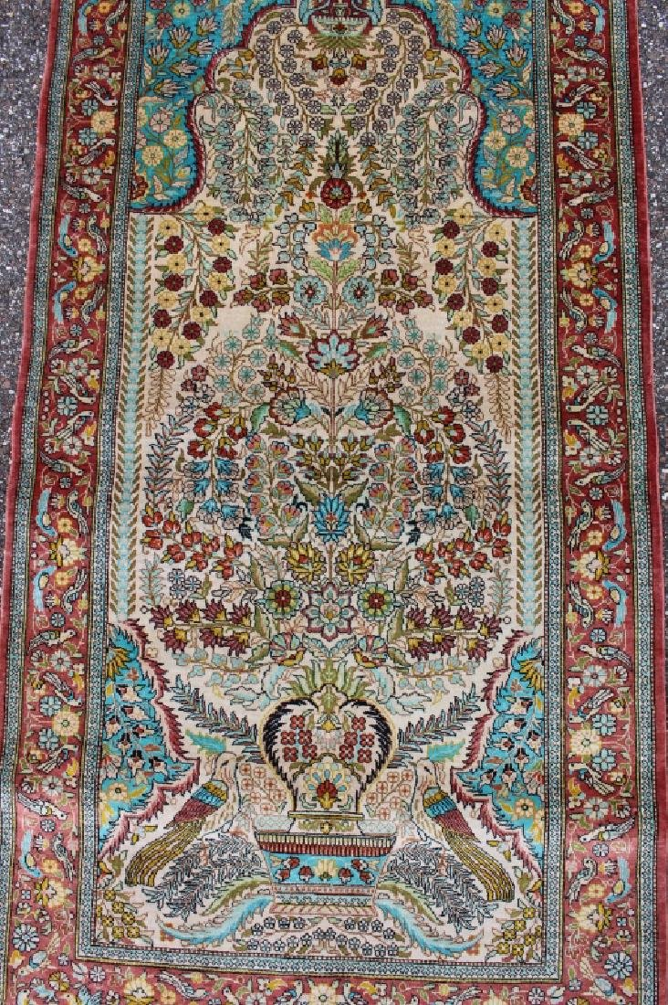 Three Persian 100% Silk Rugs - 3
