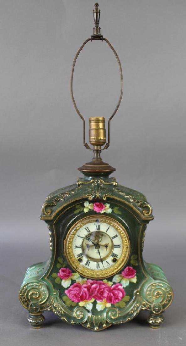 Royal Bonn Porcelain Clock with Ansonia Works